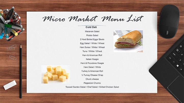 Micro Market Menu